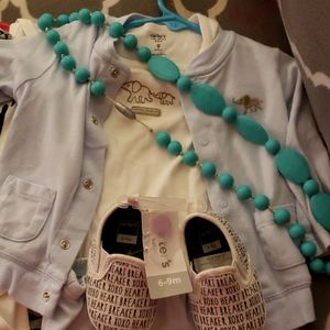 Carters outfit and shoes and teether necklace